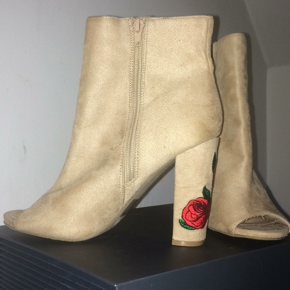 Charlotte Russe Shoes - Charlotte Russe bootie open toed heels with rose